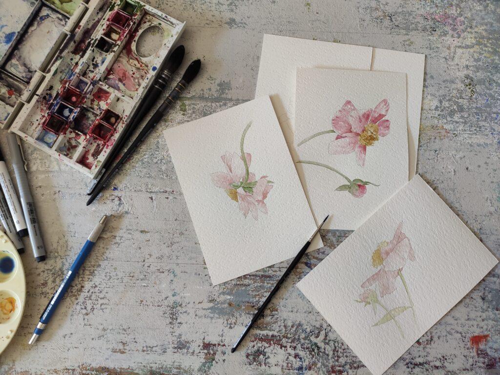 serie di fiori ad acquerello